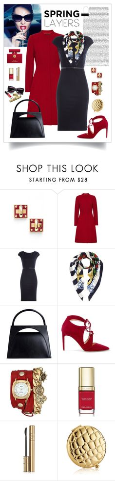 """Spring Layers in Navy & Red"" by romaboots-1 ❤ liked on Polyvore featuring Marc by Marc Jacobs, Max Factor, Jaeger, MaxMara, Dolce&Gabbana, J.W. Anderson, Chelsea Paris, La Mer and Estée Lauder"