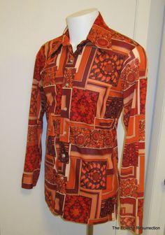 Vintage 1970s Disco Shirt-Funky Groovy Psychedelic Pimp Shirt-Size L. $65.00, via Etsy.