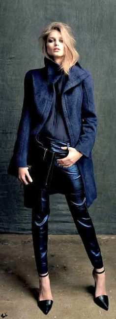 high collar, navy blue coat, silk, skinny pants, pointed heels with ankle straps