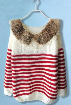 Red White Striped Fur Lace Long Sleeve Sweater