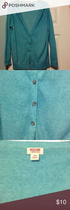 Loose fit cardigan. Awesome Faded Turquoise look! Loose fit cardigan. Sz Large. Comfy. Only worn a few times. Lightweight style. Mossimo Supply Co Sweaters Cardigans