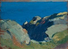 Edward Hopper, Untitled (Rocks and Sea), 1916-1919.   Oil on wood.   Whitney Museum of American Art, New York, Josephine N. Hopper Bequest