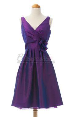 V Neck Short Regency Bridesmaid Dress