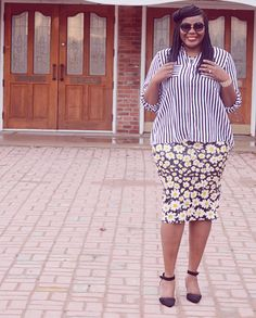 Plus Size Fashion for women. How to wearFloral and Stripes