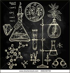 Hand drawn science beautiful vintage lab icons sketch set Vector illustrationBack to School Doodle lab equipment Chalk on blackboard Biology geology alchemy chemistry, magic tattoo elementsn - Shutterstock
