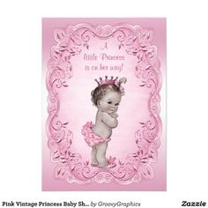 Pink Vintage Princess Baby Shower Invites. Cute, adorable personalized custom invitations for girl baby showers.