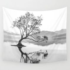 Buy Wanaka Tree New Zealand Nature Photograph Black And White Wall Tapestry by infinitely. Worldwide shipping available at Society6.com. Just one of millions of high quality products available. Black And White Wall Tapestry, Black And White Marble, White Art, Tapestry Bedroom, Tapestry Wall Hanging, Wall Tapestries, Black And White Posters, Black And White Aesthetic, Rose Flower Photos