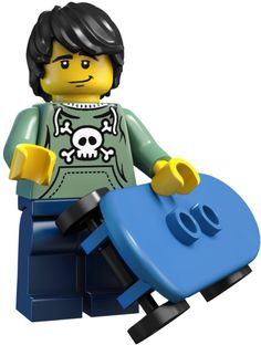 Skateboarder LEGO Figure   The skateboarder minifig is from series 1 and comes with his lighter blue skateboard with black wheels. He sports a black skater hair cut. The skateboarder has yellow flesh, blue pants and olive green long-sleeve shirt with white skull and crossbones on the front.   Year: 2010