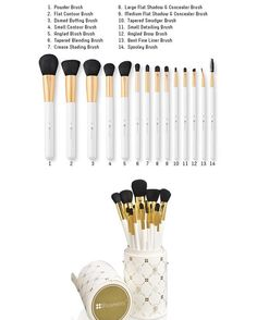 BH Cosmetics 14 pcs Signature Brush Set  Classy and chic, this 14 piece brush set is big on style and sophistication. This gorgeous cruelty free set features super soft synthetic hair and a wonderful variety of both eye and face brushes. Long glossy white and gold handles sit pretty inside the XL size white brush cylinder that boasts our signature BH Cosmetics pattern in gold and snaps tightly to travel or store on your counter top or vanity.  Features & Benefits:  Cruelty Free Synthetic…