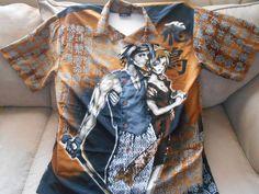 Canopy Mens Japanese Anime Shirt SZ XL 100% Polyester Sword Hawaiian-Style #CANOPY #ButtonFront