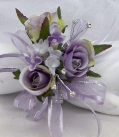 Silk wedding flower purple lilac lavender roses diamante silver wrist corsage
