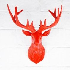 £24.99 Wall Mountable Stag's or Deer Head Ornament In Red Coloured Finish Resin: Amazon.co.uk: Kitchen & Home