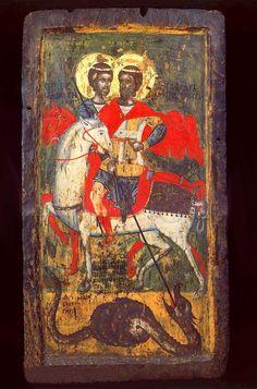 Οι Άγιοι Θεόδωροι, Αγιος Θεόδωρος ο Στρατηλάτης, Αγιος Θεόδωρος Τήρων,Χρονολογείται στα 1618,Μουσείο Macedonia-Skopje-Σκόπια.