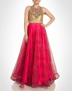 floral printed pink net gown with gold sequined bodice.  Shop Now: www.kimaya.in