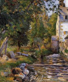 """""""Laundry and Mill at Osny"""" ca. 1884 by Camille Pissarro 1830 - 1903 Impressionism. Paul Gauguin, Claude Monet, Camille Pissarro Paintings, Francis Picabia, Gustave Courbet, Post Impressionism, Oil Painting Reproductions, St Thomas, Paris"""