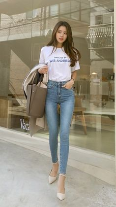 Pin by Ivan on Women Fashion & Style in 2020 Korean Girl Fashion, Korean Fashion Trends, Ulzzang Fashion, Asian Fashion, Teen Fashion Outfits, Mode Outfits, Womens Fashion, Skinny Asian, Superenge Jeans