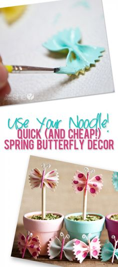 I know pasta crafts are not new but these butterflies are just too adorable not to share. Making things with pasta used to be a kid craft but these little butterflies are perfect for an adult garde… Cute Crafts, Crafts To Do, Kids Crafts, Arts And Crafts, Simple Crafts, Projects For Kids, Diy For Kids, Craft Projects, Craft Ideas