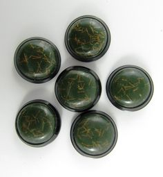 Lot of 7 Vintage 29 mm Dark Green & Golden Threads Dome with Black Frame Plastic Buttons *** P-103 by TheTreasureBoxOrna on Etsy