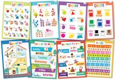 8 Educational Posters for Toddlers: Alphabet, Numbers, Shapes and more. Our designs are thoughtfully thought from the ground up thinking always on trying to provide the most effective way to teach our children. Learning Tools, Fun Learning, Learning Activities, Toddler Learning, Kindergarten Activities, Stem Activities, Toddler Activities, Alphabet For Toddlers, Colorful Playroom