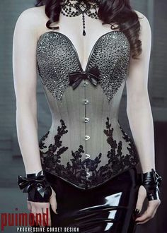 PUIMOND Long Overbust Swarovski Coutil Corset w/ French Lace Size 20 NEW In-stock Not something I could ever afford, but innit beautiful? Corset Vintage, Sexy Korsett, Looks Country, Look Retro, Lace Tights, Steampunk Clothing, Renaissance Clothing, Gothic Steampunk, Victorian Gothic