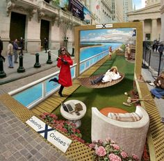 Kurt Wenner could have stretched the piece over a long space of sidewalk to play with our perception, but by creating this ad for Celebrity Cruises with a back wall, the drawing looks right no mater what angle you view it from.