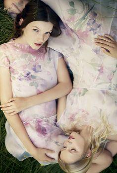 Cacharel silk floral dresses