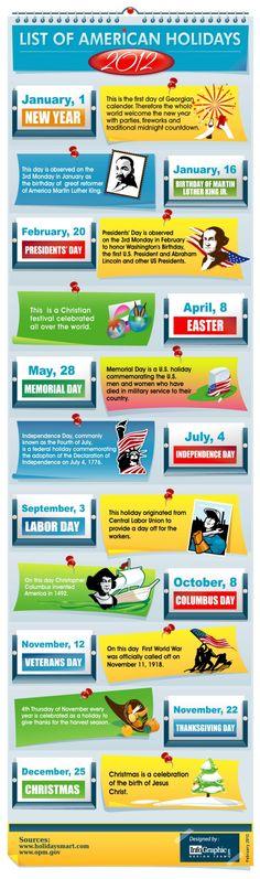 List Of American Holidays -2012