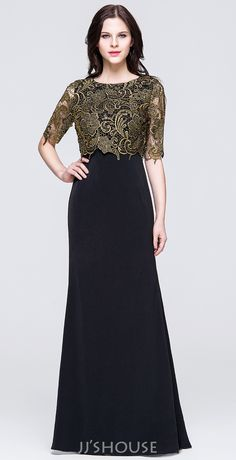 Black and gold are always the best match! #motherdress #jjshouse #floorlength…