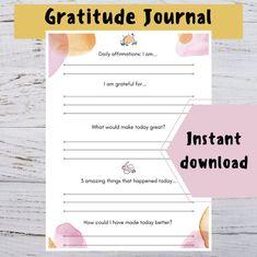 Gratitude journal Self care planner Mental health journal   Etsy