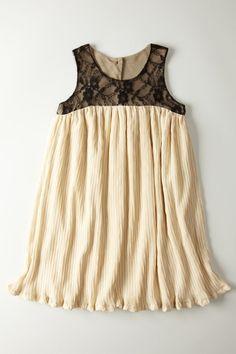 Crinkle Lace Yoke Pleated Sleeveless Dress