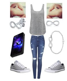 """""""Can you tell I like infinity?"""" by melanietorresco ❤ liked on Polyvore featuring Topshop, Converse, Forever New and Sterling Essentials"""