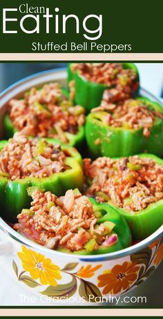 Clean Eating Stuffed Bell Peppers #cleaneating #cleaneatingrecipes #eatclean #chickenrecipes