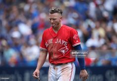 Josh Donaldson of the Toronto Blue Jays after being stranded on base at the end of the fifth inning during MLB game action against the Houston Astros at Rogers Centre on July 2017 in Toronto,. Rogers Centre, Mlb Games, Josh Donaldson, American League, Toronto Blue Jays, Go Blue, Toronto Canada, Houston Astros, Eye Candy