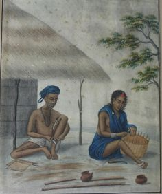 Basketmakers. Watercolour on paper, Company School, Patna, first half 19th century