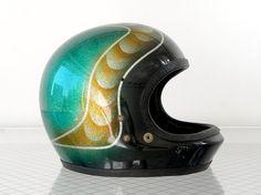 1970's Custom Motorcycle Helmet, Green, Copper, Silver Metal Flake, Full Face, J. P. 300 via Cathode Blue, 125.00