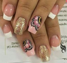 On average, the finger nails grow from 3 to millimeters per month. If it is difficult to change their growth rate, however, it is possible to cheat on their appearance and length through false nails. Love Nails, How To Do Nails, Fun Nails, Fingernails Painted, Mandala Nails, Classic Nails, Nail Candy, Nail Decorations, Stylish Nails