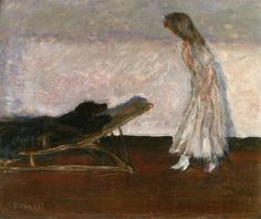 Marthe and the dog, Black, 1905, Pierre Bonnard Size: 36.7x45.7 cm Medium: oil on panel