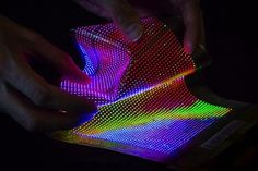 The stretchable and conformable thin-film transistor-driven LED display here laminated into textiles developed by Holst Centre, Imec and CSMT. (Source: Imec)