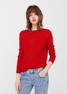 Sweter dzianinowy prążkowany | MANGO