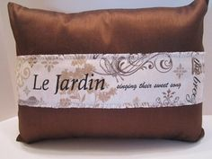 CLEARANCE - Lumbar Pillow Cover in Chocolate Brown Faux Silk with French Scripted Linen Panel Overlay  #CreamBlackTaupe #ScriptedLinen #GardenDesign #EpsteamTmp #LeJardinFrench #LumbarSize #FauxSilk #PillowCover #CushionCover #BrownGrayTan