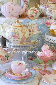 Vintage Tea Sets & Pedestal Cake Stands for a pretty high tea party.