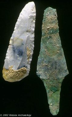 Prehistoric Flint (left) and Copper (right) Knives - The earliest examples of copper daggers date all the way back to the 3rd millennium BC. Flint stone knives were useful in the Stone Age not just because they could be sharp cutting tools, but because struck flint can be used to start fires.