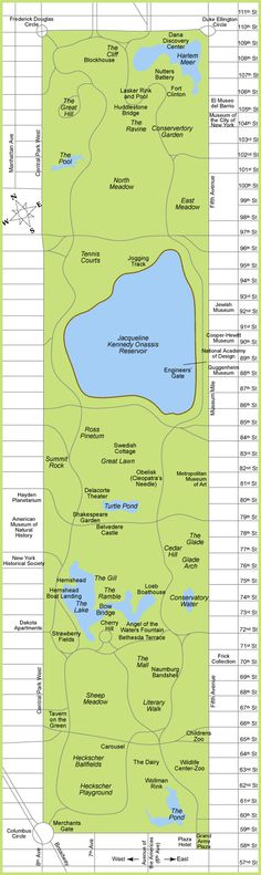Map of Central Park NYC. New York city Central Park map.