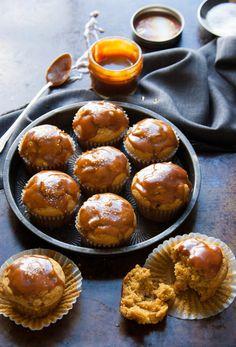 Caramel Apple Pumpkin Spice Muffins with Salted Caramel Glaze - The Kitchen McCabe