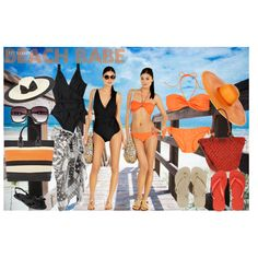 Choose between a one piece or two piece suit for your ideal 'beach babe' look!