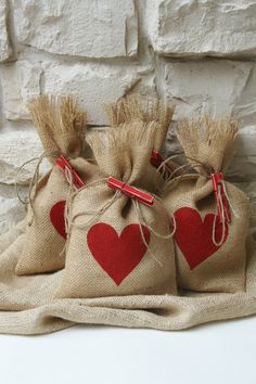 Burlap Gift Bags, Valentines Day, Shabby Chic Wedding, Red Heart, Red and Natural, Set of Four. $17.00, via Etsy.