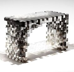 from Nucleo, a collection of ethereal furniture composed of 5×5 cm cast resin cubes - table