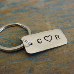 Personalized Keychain,Couple Initials,Tiny Keychain,Custom Keychain,Hand Stamped,Anniversary Gift,Boyfriend Gift,Husband Gift,Cute Keychain by PearlieGirl on Etsy https://www.etsy.com/listing/475035702/personalized-keychaincouple-initialstiny