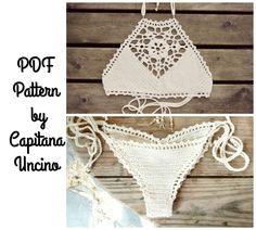 PDF, Crochet PATTERN for Venus Crochet Top and Capheira Brazilian Bottom, With Crochet Charts, Cheeky, scrunch butt, Sizes XS-L by…
