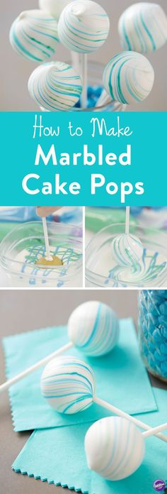 How to Make Marbled Cake Pops - Create a marbled look on your cake pops with this Marbleized Cake Pops project. Fun for baby showers and weddings, these cake pops are deceivingly easy to make and look so elegant when completed. These cake pops feature blue and green marbling, but you could use any colors you'd like to best suit your occasion. http://www.wilton.com/blue-marbled-cake-pops/WLPROJ-8609.html?crlt.pid=camp.YoIla84kkn9F&utm_content=bufferb0395&utm_medium=social&utm_source=p